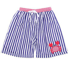Boys Swim Trunks Appliqued Crab Navy Striped Boys Swim Suit Babeeni 6m-4T NWT