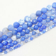 """Faceted Blue Crab Agate 6-14mm Round Beads 15""""/38cm For Jewelry DIY Making"""