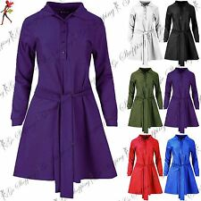 Ladies Belted Long Sleeve Collared Button Down Top Women Swing Skater Mini Dress