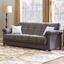 Premium Couch Sofa Loveseat Pull Out Pillow Top Arm Convert Sleeper Microfiber