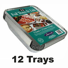 12 Extra Large Tin Foil Cooking Trays & Lids