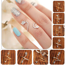 2 pcs Butterfly Snake Starfish Twisted Above Knuckle Band Midi Finger Nail Ring