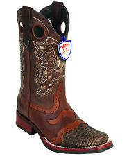 Men's Wild West Genuine Square Toe Caiman Belly Boots Saddle Vamp Rubber Outsole