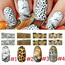 Wood Water Transfers Nails Full Wrap Decal Nail Wild Leopard Tiger Snake Pattern