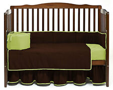 Reversible Nursery Bedding Set Crib/Cradle/Toddler Fitted Skirt Quilt Bumper