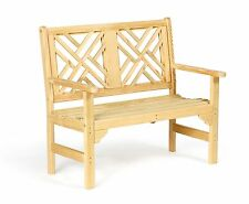 Amish Handcrafted Patio Bench Chippendale Pressure Treated Kiln Dried Wood