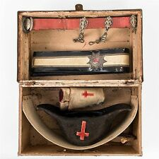 Antique Knights Templar Ceremonial Dress Lot in Wood Trunk Hat Sash Guards Belt