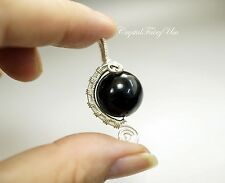 Wire Wrapped Rainbow Obsidian Pendant - Sterling Silver Obsidian Necklace