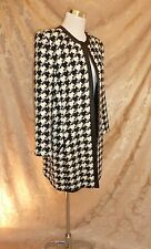 DANA BUCHMAN 14 16 Upscale BLACK LEATHER HOUNDSTOOTH STATEMENT JACKET Blazer