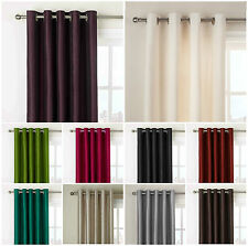 NEW LUXURY FAUX SILK CURTAINS  RING TOP FULLY LINED TIE BACKS READY MADE EYELET