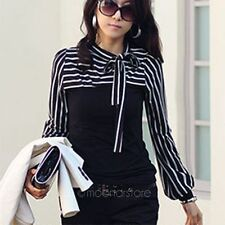 Women Long Sleeve Bowknot Neck Striped Round Collar Slim Shirt Casual Blouse New