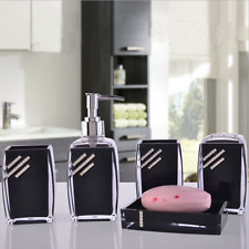 5PC/Set Acrylic Bathroom Accessories Bath Cup Black Toothbrush Holder Soap Dish