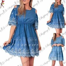 Womens Cold Shoulder 3/4 Bell Sleeve Ladies Embroidery Lace Trim Skater Dress