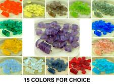 20pcs Matte Flat Waved Square Chip Washer Czech Glass Beads Sea Glass Style 10mm