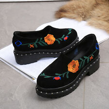 Womens thick sole pull on embroidered chunky high heels muffin single shoes
