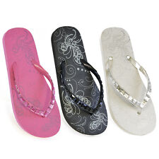 LADIES GIRLS JEWEL FLIP FLOPS SANDALS FLORAL PINK BLACK WHITE SIZES 3/4 5/6 7/8