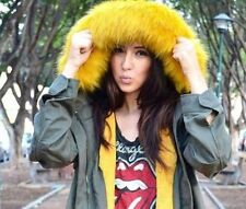 ZARA PARKA WITH YELLOW FAUX FUR HOOD KHAKI SIZE:  S , M