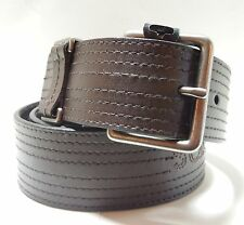 Calvin Klein Designer Mens Dark Brown Genuine Leather Stitched Jean Belt 32