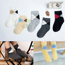 5Pairs/lot Boys Cotton Leisure Lozenge Socks Kids Girls Casual Tube Socks ;P;