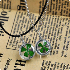 Real Green Lucky Shamrock Four Leaf Clover Round Pendant Necklace Friend Gift