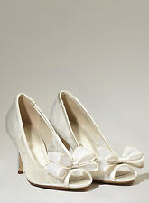 Bhs Wedding Shoes Marylin Lace Peep Toe Court Shoes Sizes 3, 8