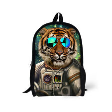 Men School Knapsack Cool Tiger Wolf Zoo Backpack Preppy Rucksack Stylish Bookbag