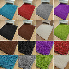 Large Thick Plain Soft Shaggy Rug Pile Modern 5cm Small Size Non Shed Extra Rugs