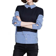 Korean Spring Women Long Sleeve Fashion Striped False Two Pieces Shirt Tops 2017