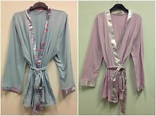 LADIES 100% COTTON SHORT JERSEY DRESSING GOWN/ROBE UK SIZES 12-20