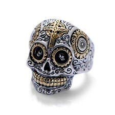 Punk Skull Carved Cross Ring Real 925 sterling silver fine jewelry for Men Gifts