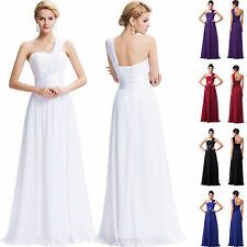 Bridesmaid One Shoulder Party Lady Cocktail Evening Dress Chiffon Prom Long Gown