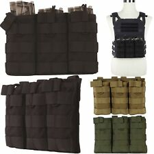 Airsoft Tactical MOLLE Triple 5.56 Magazine Mag Pouch Bag Rifle M4/M16 Holder GY