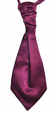 Berry Purple Wedding Scrunchie Satin Cravat Mens and Boys