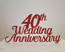 Wedding Anniversary Glitter Card or Acrylic Cake Topper Any Number