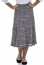 Womens Printed Skirt Fully Lined Elasticated Waist 29 Inch Length