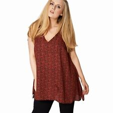 New Ladies Plus Size Red Top Floral Ditsy Vest Tunic 18-28