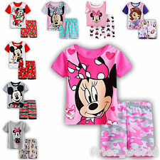 Kids Baby Boys Mickey Minnie Outfits Cotton T-shirt Top+Shorts Pants Pyjamas Set