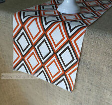 Orange Brown Table Runner Retro Vintage Geometric Home Decor Dining Table Linens