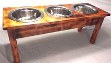NEW All Natual TIGER STRIPE Elevated dog 1 2 3 bowl feeder raised stand food