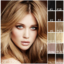 "Deluxe Thick Set Clip IN Remy Human Hair Extensions Blonde Brown Black 20"" 150g"