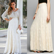 Stylish Women's Pleated Slim Elastic High Waist Lace skirt Maxi Dress Free Ship