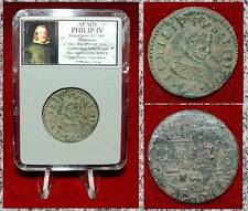 Coin King Spain PHILIP IV 1621-1665 Coat Of Arms 16 Maravedes Pirates Money