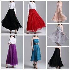 Medieval Chiffon and Pleated Bohemian Long Skirt Sexy Beach Dress 6 Color S-L