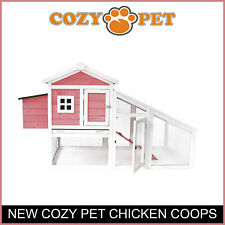 Chicken Coop By Cozy Pet Rabbit Run Hen House Poultry Hutch Nest Box in Pink