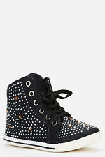 LADIES CANVAS HIGH TOP TRAINERS ANKLE BOOTS WOMENS FASHION STUDDED LACE UP SHOES