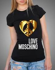 Black Sexy Women Modern Top Tee T-shirt Yellow Heart Love Moschino