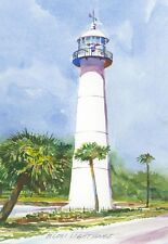 Biloxi Lighthouse, Mississippi. Watercolor Notecards