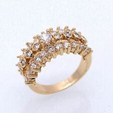 Fashion Rhinestones Jewelry 18K Gold Plated White Crystal CZ Ring Size 5 6 7 8