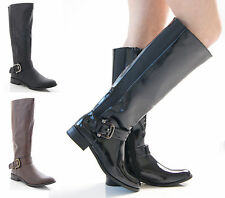 NEW LADIES WOMENS STRETCH WIDE FIT FAUX LEATHER MID CALF FLAT BOOTS SHOES SIZE