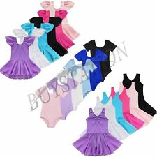 Girls Gymnastics Ballet Dance Dress Leotard Tutu Skirt Costume Age 2-14Y